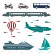 Transportation icons. Vector set of different means of transport — Stock Vector #63494829