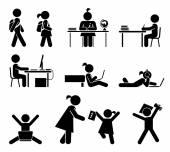 School days. Pictogram icon set. School children. — Stock Vector