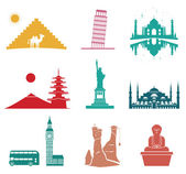 Famous monuments travel icons. — Stock Vector