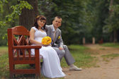 Bride and groom sitting on bench — Stock Photo