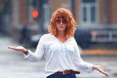 Woman in the rain — Stock Photo