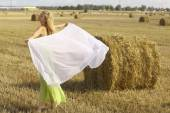 Woman with scarf on field — Stockfoto