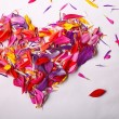 Heart of colorful flower petals — Stock Photo #55341611