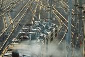 Railroad rails with train — Stock Photo