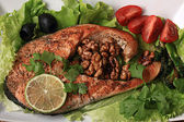 Grilled salmon with salad — Stock Photo