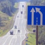 Narrowing road sign — Stock Photo #55583299