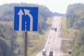 Narrowing road sign — Stock Photo