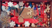 Fondo de juguetes de navidad — Foto de Stock