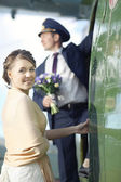 Wedding couple at aircraft — Стоковое фото
