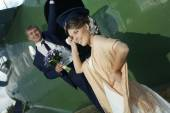 Wedding couple at aircraft — Stock Photo