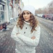 Winter  young girl in city — Stock Photo #67755815