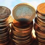 Постер, плакат: Russian and euro coins