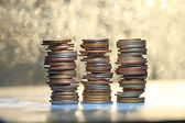 Stacks of coins, money — Stock Photo
