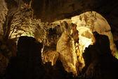 Stalactite cave spelunking — Stock Photo