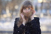 Shy beautiful girl outdoor — Stock Photo