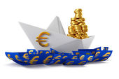 Paper boat euro — Stock Photo
