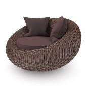Wicker rattan chair — Stock Photo