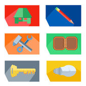 Icons house, pencil, tools, key, lightbulb, notebook — Stock Vector
