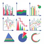Set chart flat — Stock Vector
