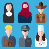 Icons people nurse, nun, police, cowboy, builder, arab woman  — Stock Vector