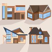 Houses, cottages, buildings, villas, architecture, building — Stock Vector