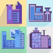 Flat set houses, buildings, architecture, building, city — Stock Vector