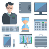 Set man, calculators, purse — Stock Vector