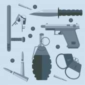 Gun baton bullets handcuffs keys — Stock Vector
