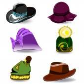 Set vector hats — Stock Vector