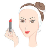 Girl with make up lipstik — Stock Vector