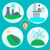 Types of energy production — Stock Vector