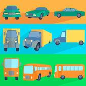 Flat set icons symbols car, truck, bus — Stock Vector