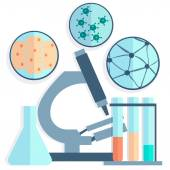 Microbiology, Petri dishes, test tubes — Stock Vector