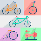 Flat set bicycles, exercise bike, circus, city, mountain — Stock Vector