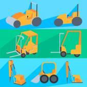 Set flet construction machinery. Roller-stacker, forklift, drill rig, bulldozer — Stock Vector