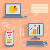 Computer technology communication Internet business — Stock Vector