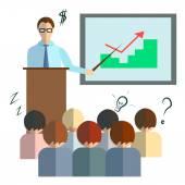Businessman speech infographics — Stock Vector