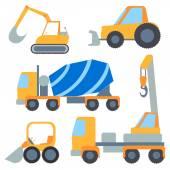 Set flet cars, tractor carrier, concrete mixer, excavator, bulldozer, crane — Stock Vector