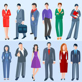 Set isolated business men and women — Stock Photo
