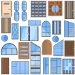 Set isolated doors, windows, glass — Stock Vector #77214119