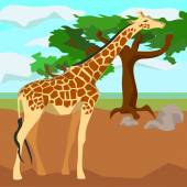 Giraffe on background trees, animals and nature — Stock Vector