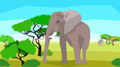 Elephant in a field with trees, seamless, animals and nature — Stock Vector