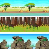 Set nature backgrounds horisontal tiled patterns seamless — Stock Vector