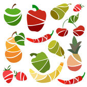 Set isolated fruits and vegetables pear, pepper, apple, banana — Stock Vector