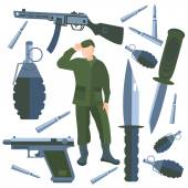 Set isolated weapons, soldier weapon, knife, bullet, grenade — Stock Vector
