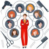 Set hairstyles, girl stylist, wig, comb, scissors — Stock Vector