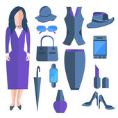 Set isolated business ladies, clothes and accessories, umbrella, telephone — Stock Vector