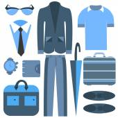 Mens business clothing isolated and accessories umbrella, suits, shirts — Stock Vector