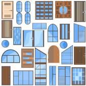 Set isolated doors, windows, glass — Stock Vector