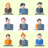 Set call center operators headphones, computers, people, girls, boys, women, men — Stock Vector
